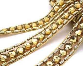 GOLD RHINESTONE beaded trim, trimming,costume, sequin edging,stones, beads,costume,fashion,art,crafts,sewing,embellishment,decoration