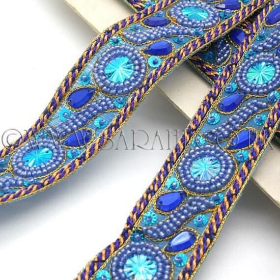 Perles garniture garniture, bleu TURQUOISE strass, costume, costume, strass, sequin bordure, pierres, perles, mode, art, artisanat, couture, décoration, décoration d24bba