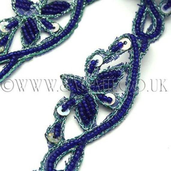 Coupe bordure, perlé de SEQUIN fleur bleu bleu fleur couture, costume, sequin bordure, pierres, perles, mode, artisanat, couture, décoration, décoration ac88d6