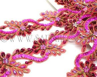 HOT PINK RHINESTONE  beaded trim,trimming,costume,sequin edging,stones,beads,fashion,art,crafts,sewing,embellishment,decoration