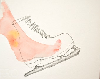 Foot and skate. Watercolor and pencil. Dreams of a foot II