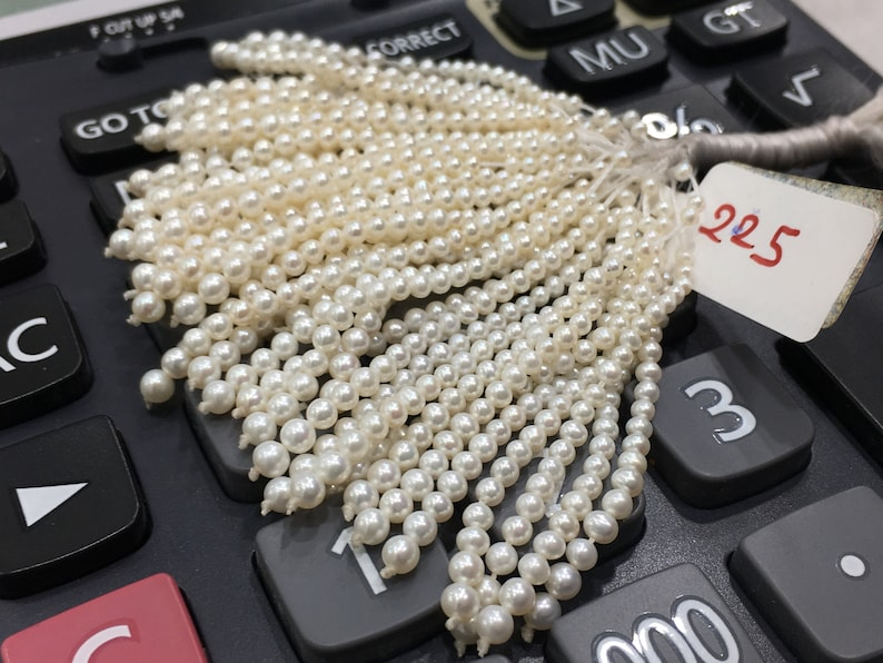 Tussle Near Round Shape Off White Color Pearl String Beautiful Pearls for Earrings 2-3.5 MM Freshwater Pearl