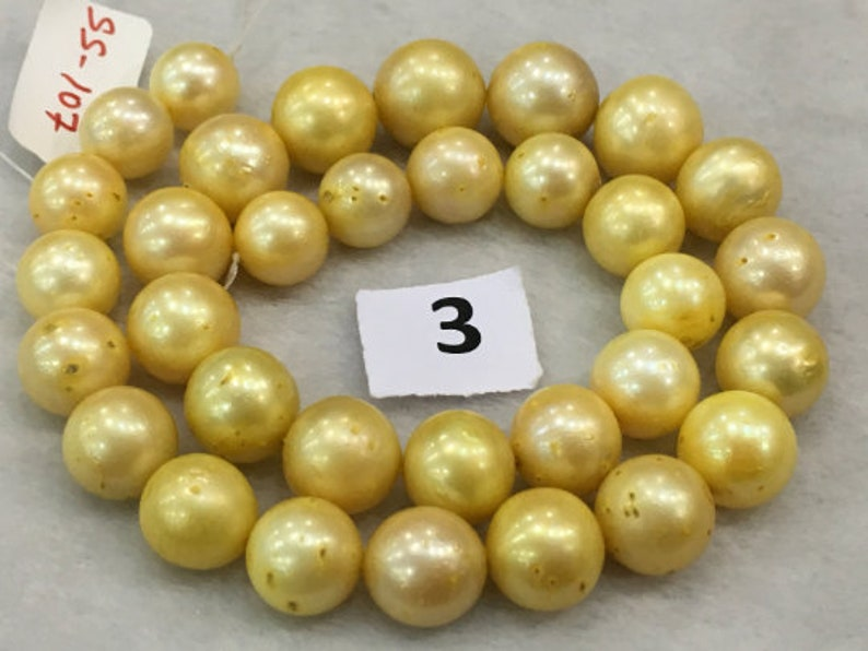 11-15.5 mm South Sea Round Shape Yellow Color Pearl String