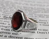 Father 39 s Day Sale Offer Hessonite garnet ring, Lion Designer Ring ,Ottoman mens ring, 925 Sterling Silver Ring, Garnet Gemstone mens ring