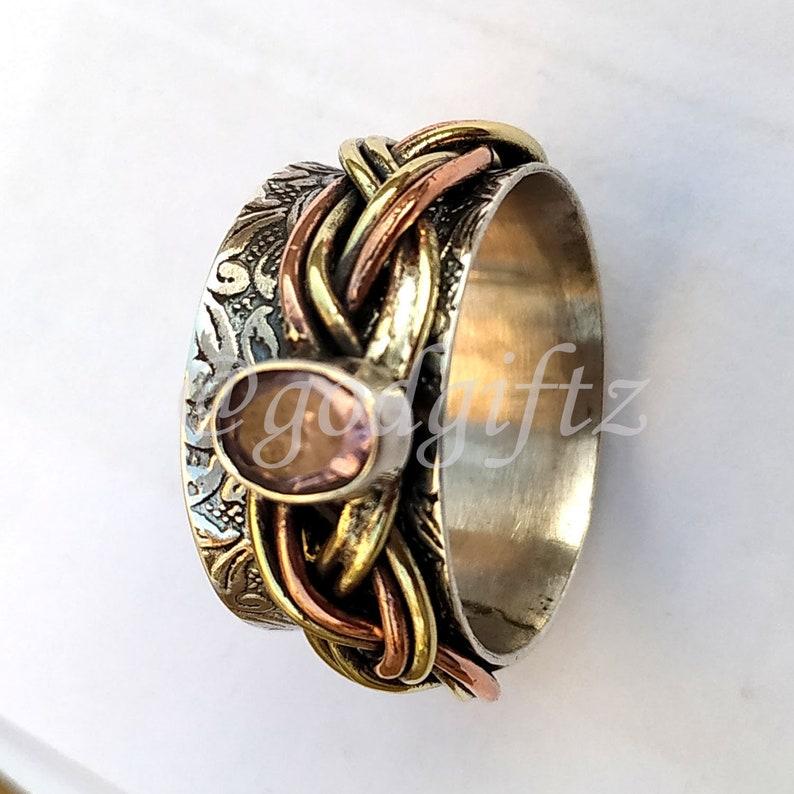 AAA Rose Quartz Gemstone Ring Silver Ring Silver Jewelry Handmade Ring Thumb Ring Spinner Ring Meditation Ring Fidget Ring Quartz Jewelry