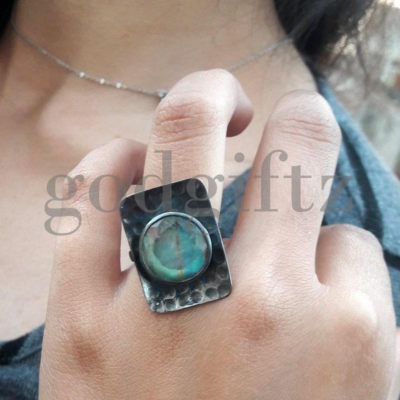 AAA Flashy Rainbow Moonstone Ring Black Rhodium Silver Ring Silver Jewelry Handmade Ring Designer Ring Antique Ring Bridesmaid Gift Womens