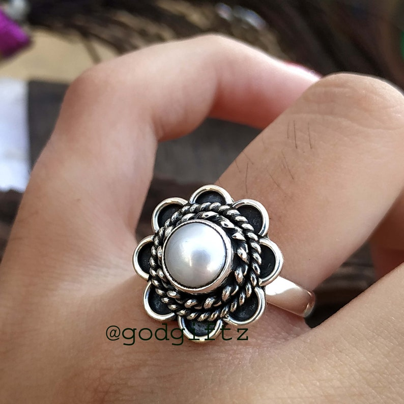 boho ring Womens handmade ring silver Pearl ring Christmas Sale 925 solid sterling silver ring,fresh water pearl ring White Pearl ring