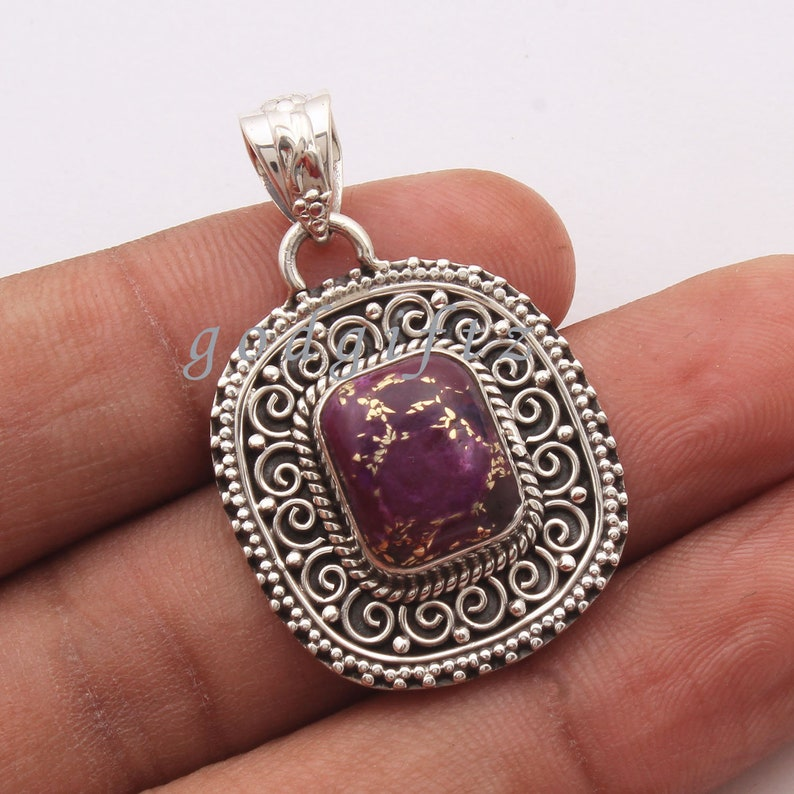 AAA Purple Copper Turquoise Pendant Silver Pendant Silver Jewelry Turquoise Jewelry Boho Style Pendant Velentine Pendant Gift for her Vintag