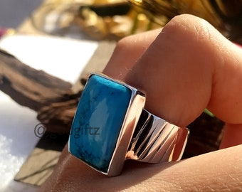 Turquoise Gemstone Men Ring, Mens Handmade Ring, Turkish Handmade Silver Men Ring, Ottoman Mens Ring, Gift for Him, Sterling Silver Ring