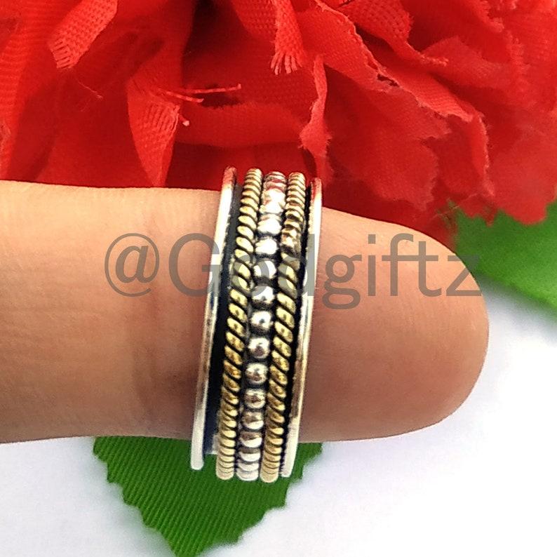 Spinner Ring Designer Ring Anxiety Ring Meditation Ring Wide Band Ring Fidget Ring Worry Ring Women Ring Handmade Ring Gift for her