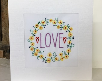 Love Wreath Embroidered Greeting Card
