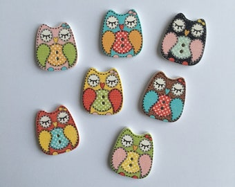 Crafts 50 x Pretty Wooden Owl Buttons Card Toppers Embellishments