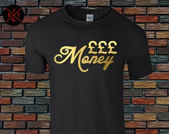 Money Gold Foil / Glitter T shirt Party T shirts Fun T shirts rave T shirts