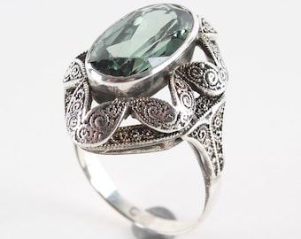 Theodorer Art Deco 800 silver ring with tourmaline Gr. 53/Ø 17 Art Nouveau silver ring around 1920 silver jewelry silver Ring Silver Jewelry