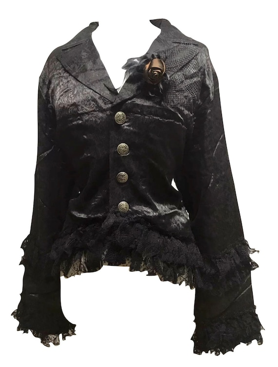 Steampunk Gothic Victorian  Black black Lace Full Skirt By Raven SDL ML