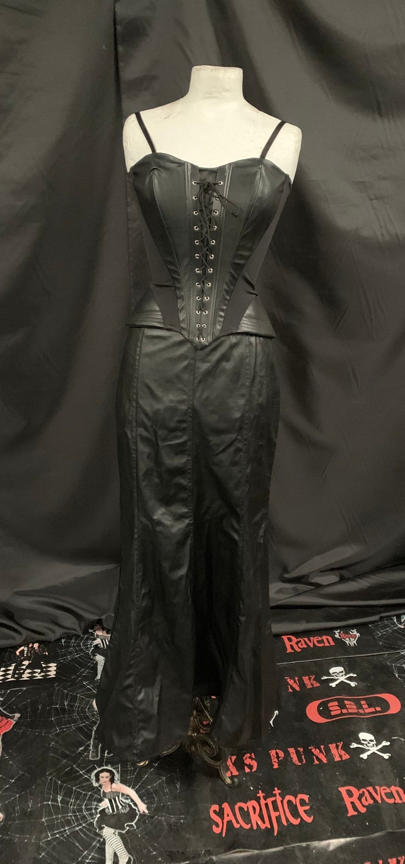 Steampunk gothic matrix leatherette outfit size uk10 cosplay