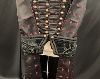 Steampunk vIctorian gothic military style brocade jacket by SDL raven