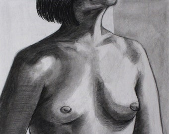 Woman's Chest - Charcoal Drawing ORIGINAL
