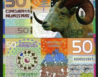 Kamberra, POLYMER, 50 Numismas, 2015, China Lunar Year, UNC >> Goat - Ram - Sheep