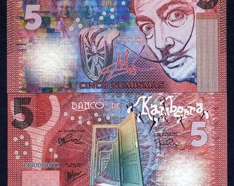 Kamberra, 5 Numismas, 2014, UNC > Red Salvador Dali