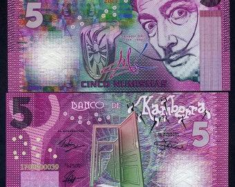 Kamberra, 5 Numismas, 2017, UNC > Purple Salvador Dali