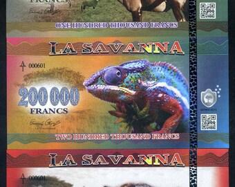 La Savanna, 100000, 200000 and 500000 Francs, 2016 - 3 Note Set