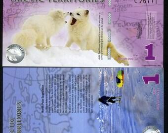Arctic Territories, 1 dollar, 2012, Polymer, UNC, Arctic Fox