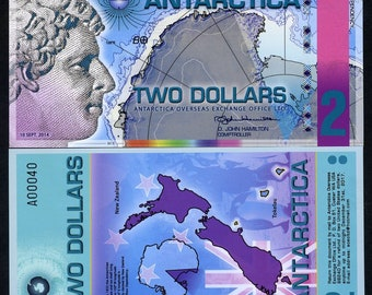 Antarctica, 2 dollars, 2014, Polymer - Redesigned