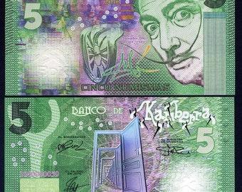 Kamberra, 5 Numismas, 2016, UNC > Green Salvador Dali