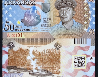 USA States, Arkansas, 50 dollars, Polymer, not dated (2017), UNC - Douglas MacArthur