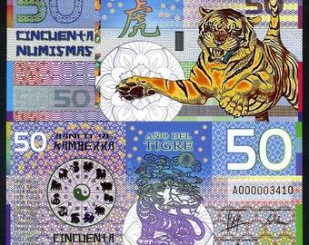Kamberra, POLYMER, 50 Numismas, China Lunar Year 2010, UNC > TIGER