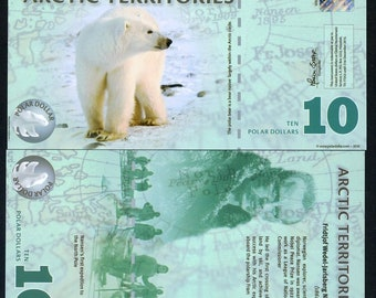 Arctic Territories, 10 dollars, 2010, Polymer, UNC, Polar Bear