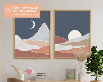 Abstract Night Landscape Digital Download Art Print Set of 2 - Mid Century Modern Art Print, Abstract Minimal Blue Navy Night Sky, Boho
