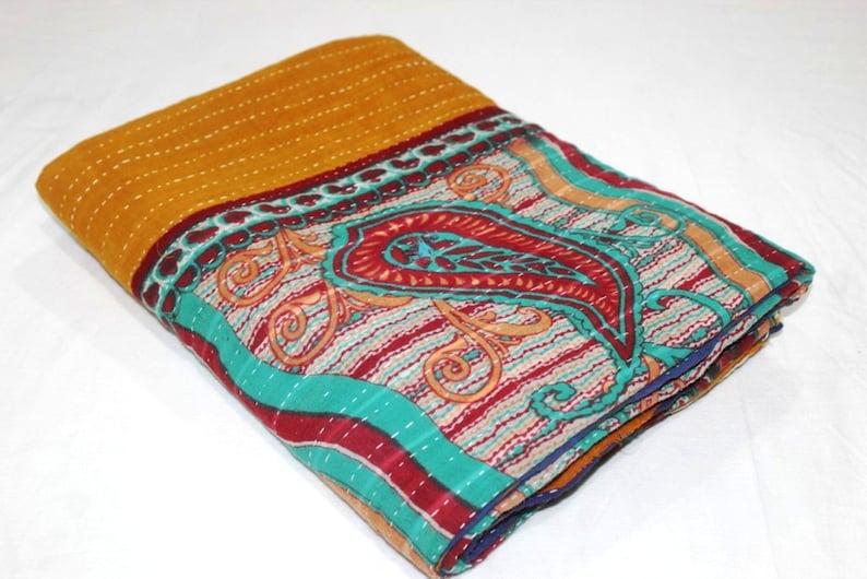 Twin Indian Vintage Reversible Blanket Bohemian Bedspread Throw Handmade Cotton Kantha Quilt VH-539