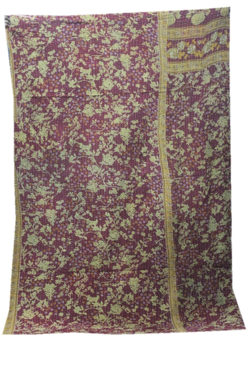 EXPRESS SHIPPING-Indian Vintage Cotton Kantha Quilt Handmade Reversible Blanket Throw Kantha Coverlet VH-777
