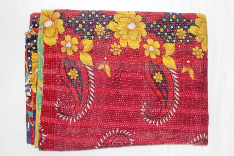 Handmade Fine Kantha Quilt Cotton Coverlet Reversible Blanket Bedspread Throw Indian Vintage Kantha Bedcover FK-75