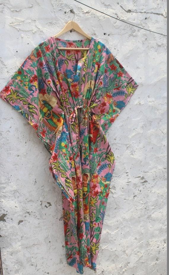 Yellow Frida Kahlo Printed Caftan Woman/'s Cotton Long Kaftan Party Wear Dress Indian Summer Cotton Caftan Print Kaftan Woman Cotton Drees