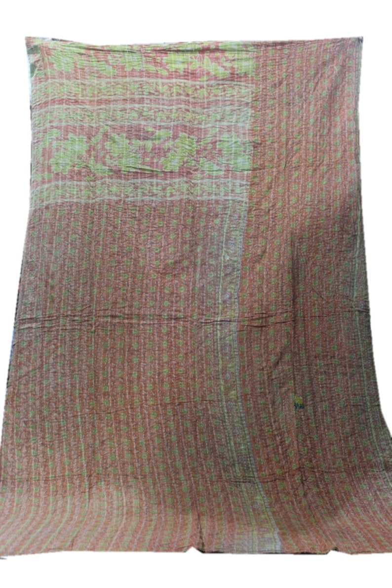 Indian Vintage Handmade Reversible Blanket Bohemian Bedspread Cotton Kantha Quilt Vh-782