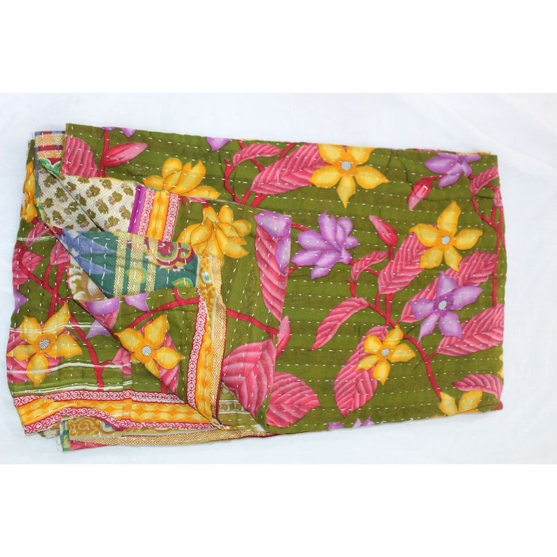 Indian Handmade Vintage Reversible Blanket Twin Kantha Bed Cover Bohemian Bedspread Throw Cotton Kantha Quilt VH-924