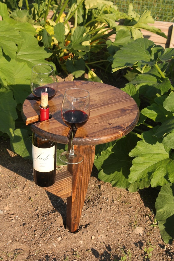Outdoor Wine Bottle And Glass Holder Etsy