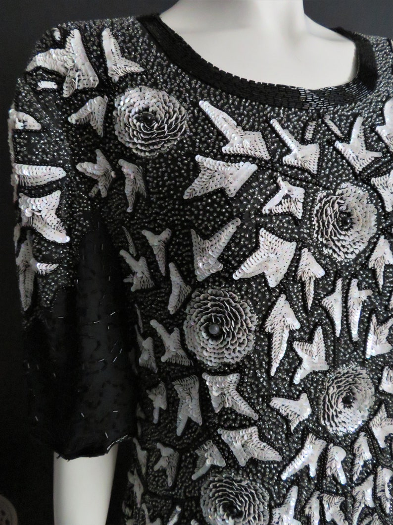 Vintage 1980/'s Beaded Maxi Dress By Carina Silk Beaded Sequined Pearlescent  12