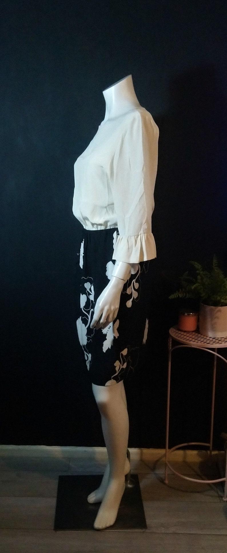 Vintage 1980/'s Casor Italy Seta Pura Silk Dress Ivory Black Midi 10