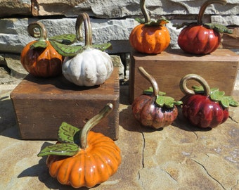 Pumpkins Handmade Ceramic; Pottery Pumpkins; Halloween or Fall Decorations; Ceramic pumpkin
