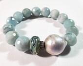 Aquamarine Luxe Stretch Bracelet with Dreamy Lampwork Bead