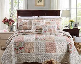Luxury 100% Cotton Coverlet / Bedspread Set Patchwork Quilt Queen King Size Bed 230x250cm 10421#