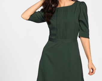 Sivanna Green Scarlette Pleated A Line Dress