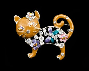 Cat Brooch, Vintage Cat Pin, Unsigned, Tan w/Rhinestone Flowers, Cute Animal Brooch, Cat Gift for Her, Clearance