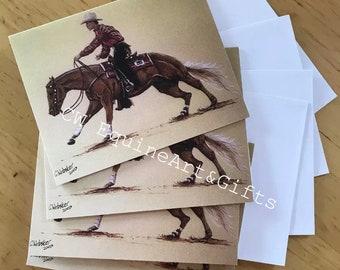 Original Pferde Kunstwerk Western Reiter Palomino Reiner Blank Gruß-und Glückwunschkarten