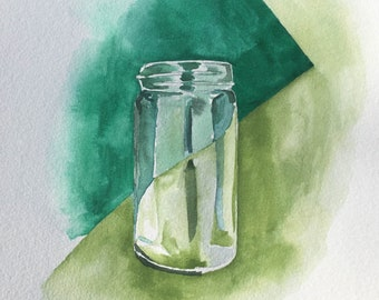 Illustrative Watercolor of a Glass Jar with Shades of Green