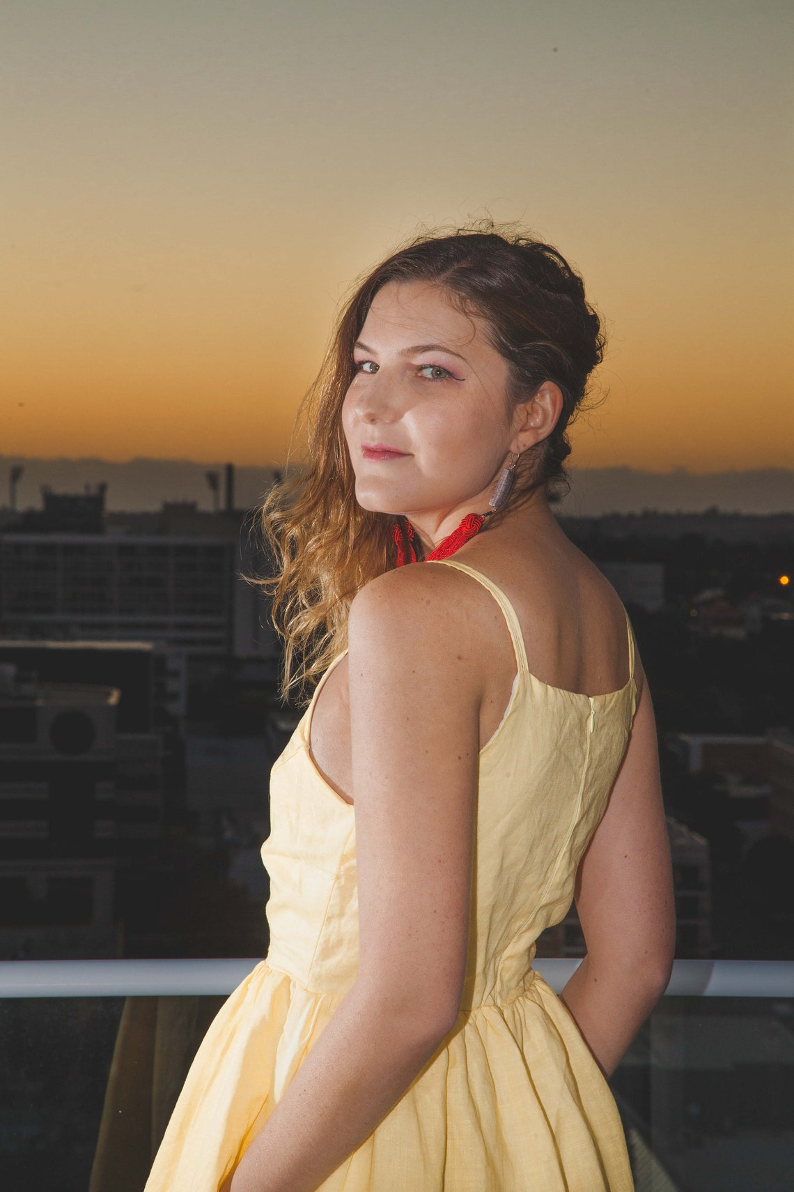 Giovanna: 100% Peruvian Cotton & Linen Dress Handmade YELLOW